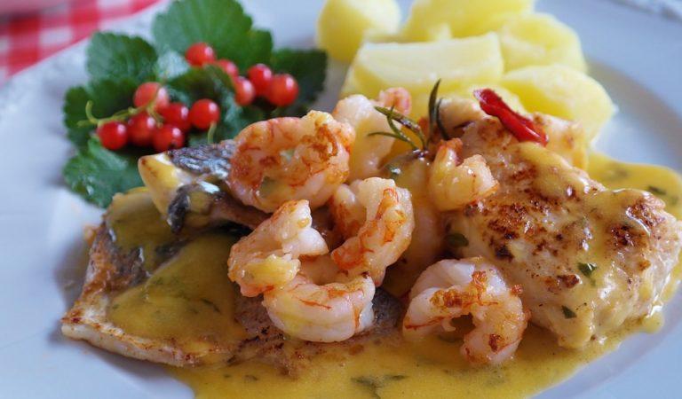Recepta de Cuina, Com es fa – Llobarro amb llagostins i salsa de mango