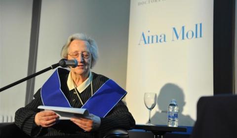 Mor Aina Moll, una defensora de la normalització lingüística.