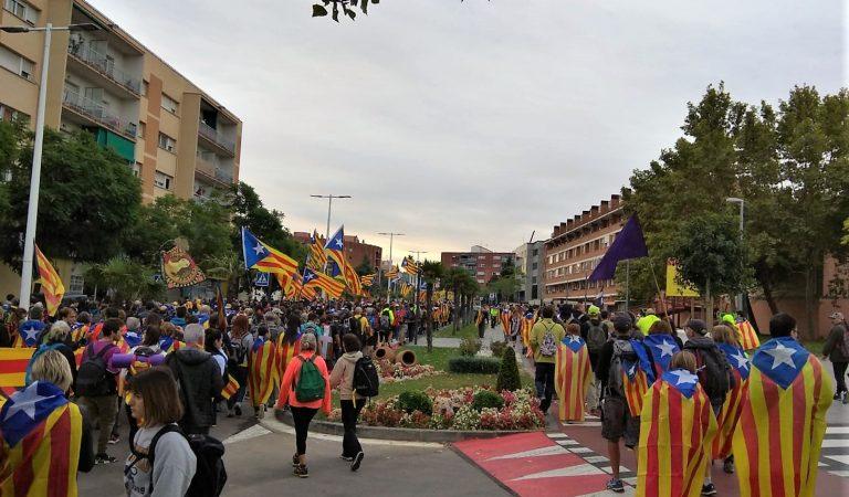 La Marxa per la Llibertat al seu pas per Sant Andreu de la Barca
