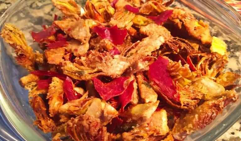 Recepta de Cuina, Com es fa – Xips de carxofes al forn amb cruixent de pernil
