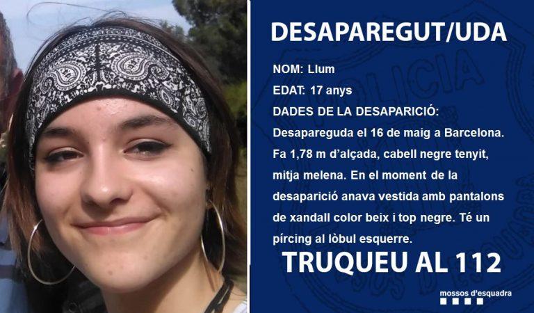 Els Mossos d'Esquadra demanen col·laboració per trobar una noia desapareguda a Barcelona