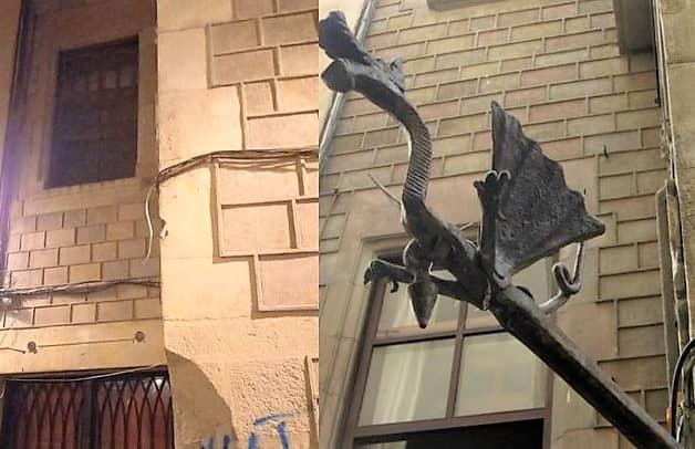 Desapareix el Drac de ferro que hi havia en una façana de la Baixada de Santa Eulàlia de Barcelona